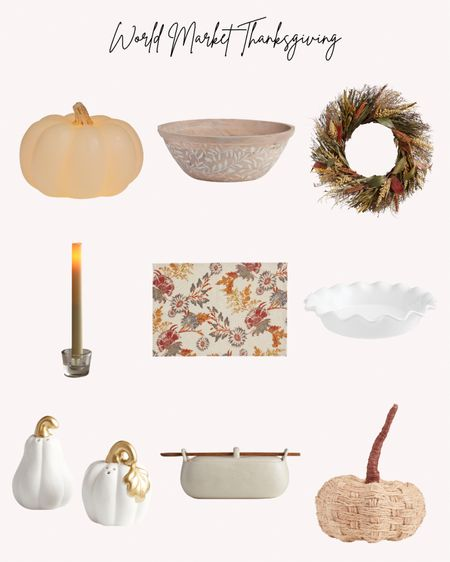 Thanksgiving, fall, autumn, world Market, wreaths, pumpkins, candles, rustic, pie plate, baking dishes  Follow me for more ideas and sales.   Double tap this post to save it for later    #LTKhome #LTKHoliday #LTKSeasonal