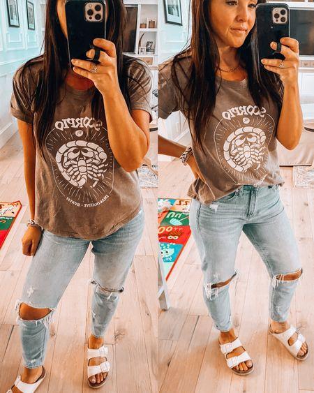 Zodiac rolled sleeve t shirts- wearing small, so soft.   Fav mom jeans wearing size 4  White Birkenstock's   #LTKunder50