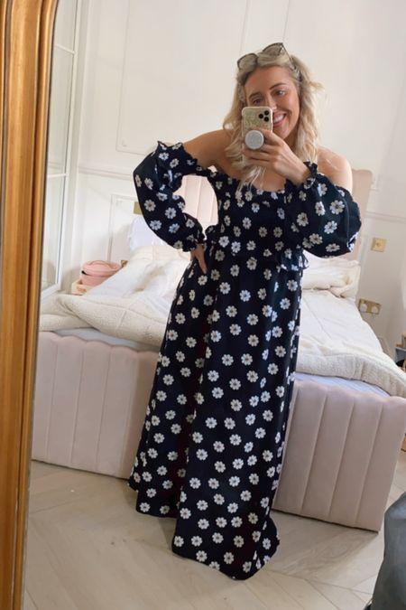 Balloon sleeve dress - floral dress - shirred dress - off the shoulder dress - puff sleeve dress - flower print dress - maxi dress - stretchy dress - summer dress - boohoo - asos - summer outfit - wedding guest - smart casual - office outfit - pink bed - velvet bed - ottoman bed - Bardot dress - floaty dress   #LTKsalealert #LTKhome #LTKeurope