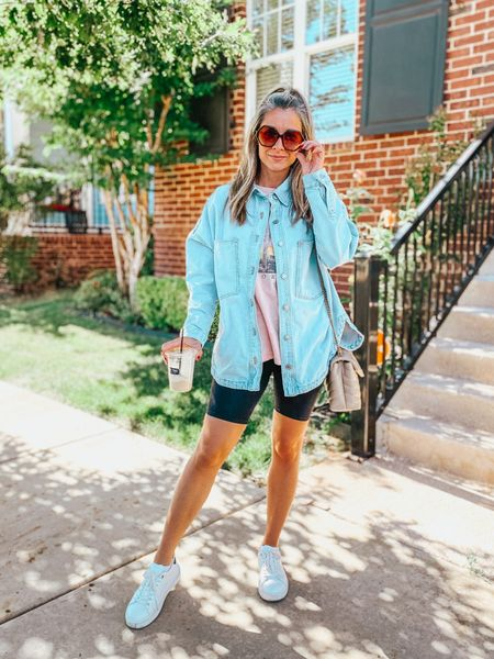 Top is Target and $15! Biker shorts are also Target and run TTS! Oversized jean jacket top is Zara! Shoes are Steve Madden and seriously the most comfortable shoes ever!   #LTKsalealert #LTKshoecrush #LTKunder50