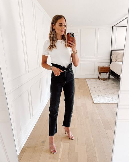 Obsessed with these jeans from Shopbop! I love the ruffle detail at the waist. I took my true size in AGOLDE jeans. This white top fits tts (wearing a small) the perfect summer date night look!