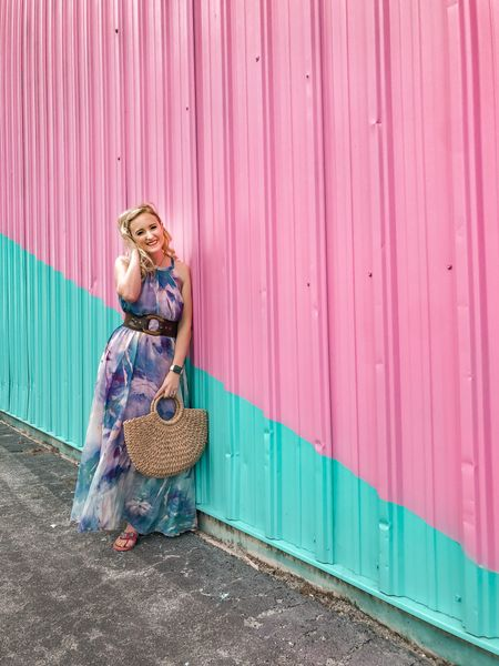 This watercolor maxi dress is a gorgeous purple maxi to wear for fall weather with a cute denim jacket and some Valentino look alike flip flops. #LTKunder100 #LTKstyletip #StayHomeWithLTK http://liketk.it/2YAEN #liketkit @liketoknow.it