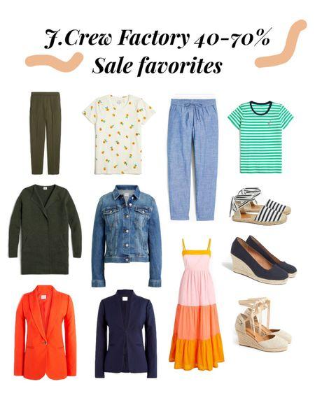 http://liketk.it/3gzxF #liketkit @liketoknow.it #LTKsalealert #LTKstyletip #LTKworkwear J.crew factory sale favorites, Memorial Day sales, workwear on sale, navy blazer, orange blazer, linen pants, work trousers, sweater blazer, espadrille, navy wedges, office wear, women workwear