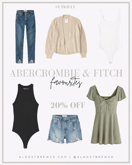 Abercrombie & Fitch favourites all on sale! High waisted super skinny jeans with buttons, cardigan, bodysuit, ribbed bodysuit, high waisted mom jean shorts, summer bow dress http://liketk.it/3hm8I #liketkit @liketoknow.it #LTKDay #LTKsalealert #LTKunder100