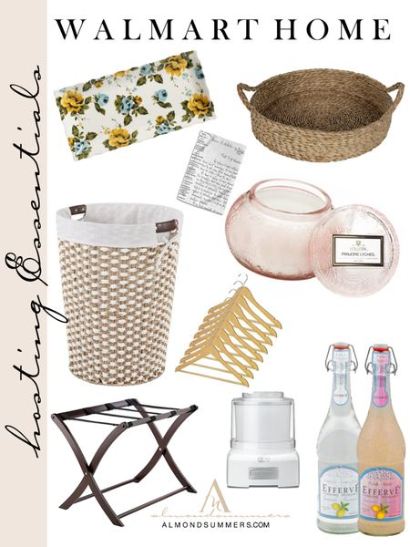 Hosting essentials for overnight guests! Found these must have from Walmart Home that makes life simple. The  laundry basket is heavy duty with leather like hand grips. The voluspa lychee pink candle is gorgeous 😍 and is lightly scented. I also picked up the Cuisinart ice cream maker that is so amazing! Everyone should own one of these! They're super easy to use! The floral vintage plates are a unique way to greet your guests while serving sweet treats! Other items I shopped for are the wooden closet hangers, the cutest white cursive French kitchen towels. Happy shopping! 🤍✨💫   #LTKsalealert #LTKhome #LTKstyletip