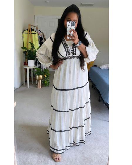 http://liketk.it/3jQNl #liketkit @liketoknow.it #LTKstyletip #LTKwedding #LTKtravel white dress, bohemian white maxi dress, Anthropologie dress, wedding guest dress, white maxi, metallic maxi dress. Summer vacay outfit