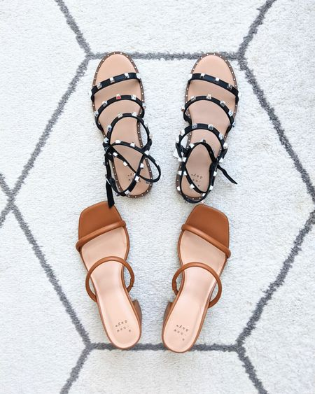 Target sandals for fall. Target finds. Black studded sandals, camel brown square toe strappy heels. Black size down 1/2 size. Brown TTS. http://liketk.it/3m3kq @liketoknow.it #liketkit #LTKSeasonal #LTKshoecrush #LTKunder50 #LTKunder100 #LTKworkwear