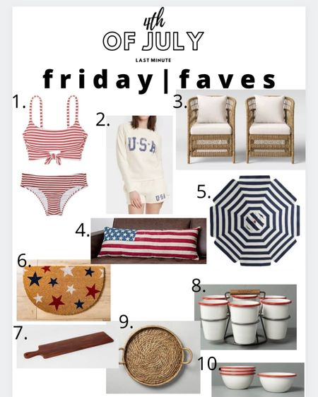 Friday faves! Last minute ideas for the 4th that you can get before Sunday! Linked some items to wear and items for the patio and entertaining. http://liketk.it/3iSo8 #liketkit @liketoknow.it #LTKsalealert #LTKhome #LTKunder50  1.) love this stripe suit! I have it in black and white stripes  2.) this USA shorts and sweater set! I have the shorts and they are the most comfy things ever  3.) loving al the wicker/sea grass things right now. Target patio stuff is still on sale! 4.) love this American flag pillow! There's a smaller version too. And it's on super sale! 5.) navy and stripe umberella to make the patio festive. On super sale! 6.) festive door mat. On super sale . Plus, you can do kirklands curbside pickup!  7.) cheese boards are the best for parties. I picked this up last week and it's so big and perfect for large gatherings. On super sale too!  8.) love this little enamel caddy thing! Perfect for entertaining 9.) woven tray perfect for the patio or inside for entertaining  10.) love these matching enamel bowls too!