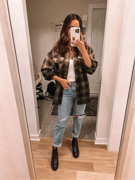 Flannel shacket: true to size (S) oversized Sweater tank: true to size (S) Agolde jeans: size down (27) Boots: true to size, size up if between *use code TAYLOR15 for boots   #LTKshoecrush #LTKunder100 #LTKSeasonal