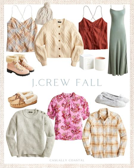 Loving all of the (mostly) muted colors in J.Crew's fall line! Lots of these styles are on sale this weekend! - fall sweaters, fall ponchos, J.Crew fall, J.Crew fall sweaters, coastal fashion, coastal style, plaid shirts, plaid button downs for women, women's plaid shirts, cropped sweaters, neutral sweaters, button shoulder sweaters, fall camis, fall camisoles, tartan tops, tartan shirts, gray sweaters, gey sweaters, cream sweaters, puff-sleeve tops, puff-sleeve shorts, short-sleeve fall tops, fall dresses, green dresses, long fall dress, slip dresses, wool sweaters, crewneck sweaters, beanies, beanie, cable-knit sweaters, cable knit cardigans, cable-knit beanies, winter boots, women's winter boots, fur boots, hiking boots, shearling boots, warm winter boots, ballet slippers, fall slippers, cashmere slippers, slim fit flannel, women's flannel tops, flannel shirts, women's winter slippers  #LTKSeasonal #LTKsalealert #LTKunder100