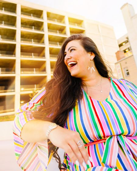 BRIGHT down the middle 🌈  Want to shop my favorite dresses and jumpsuits under $36 like this one?? Download the LIKEtoKNOW.it shopping app to shop this pic via screenshot and swipe over to add a bestie 👯♀️ http://liketk.it/3jzug #liketkit @liketoknow.it #LTKcurves #LTKstyletip #LTKsalealert
