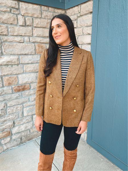 Stripe turtleneck and tweed blazer for a fun fall outfit   #LTKSeasonal