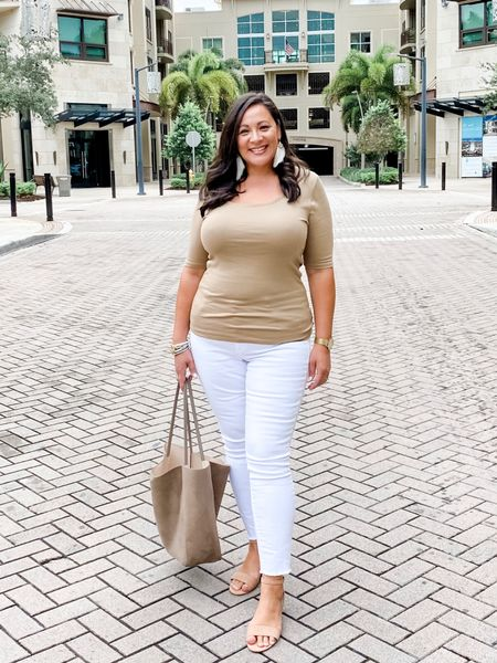 Fitted tee, white jeggings, ankle strap sandals, feather earrings, tote bag is old H&M but linked another cute one. http://liketk.it/2Sbup #liketkit @liketoknow.it