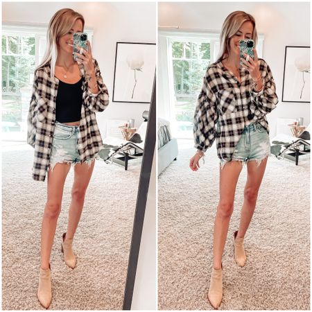 Fall style  Fall outfit ideas  Plaid shirt  Apricot lane boutique promo code for 20% off: JENNA  Abercrombie jean shorts and suede ankle booties    #LTKsalealert #LTKSeasonal #LTKstyletip