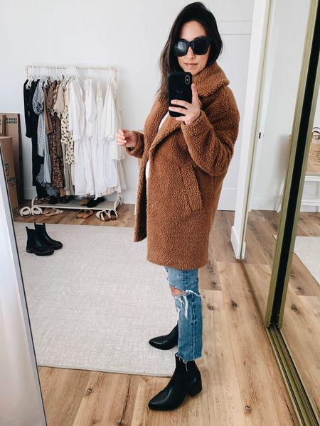 The best black booties to wear under straight jeans. Brown teddy coat  Coat - A&F xxs Jeans - Levi's 24 Boots - Vegabond 36 Sunglasses- Quay   #LTKshoecrush #LTKSeasonal