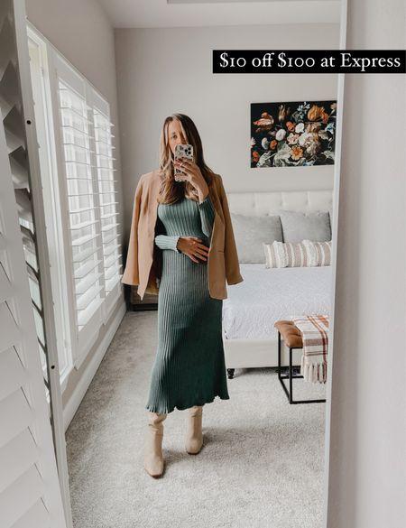 Sweater dress, beige blazer, knee high boots   #LTKSale #LTKunder100 #LTKGiftGuide