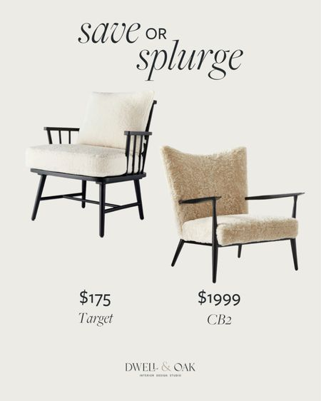 Save or splurge on a Sherpa accent chair? The Target home version from Studio McGee comes in three shades of wood and is currently on sale for $175, while the luxurious accent chair from CB2 is $1999 with large shearling cushions. #cb2 #studiomcgee #accentchair  #LTKhome #LTKsalealert