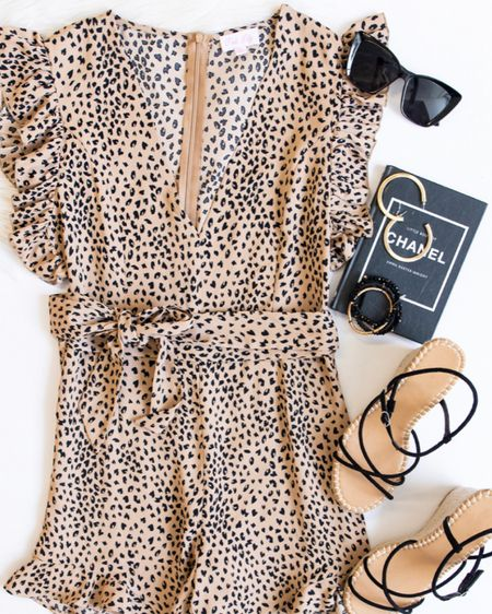 Shop the Pink Lily  Soul Art Ruffle Animal Print Tan Romper look! I have linked the sunglasses, earrings, bracelet, strappy wedges and the romper itself all from Pink Lily! This is such a cute outfit if you love animal print and want to wear it even in the spring and summer! Click here to shop this look now! http://liketk.it/3axkX #liketkit @liketoknow.it #LTKstyletip #StayHomeWithLTK #LTKSeasonal Follow me on the LIKEtoKNOW.it shopping app to get the product details for this look and others