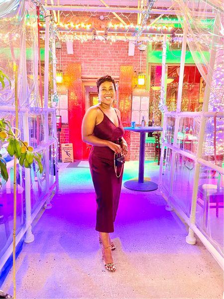 #datenight in purple satin slip dress and leopard print sandals   #LTKstyletip #LTKSeasonal