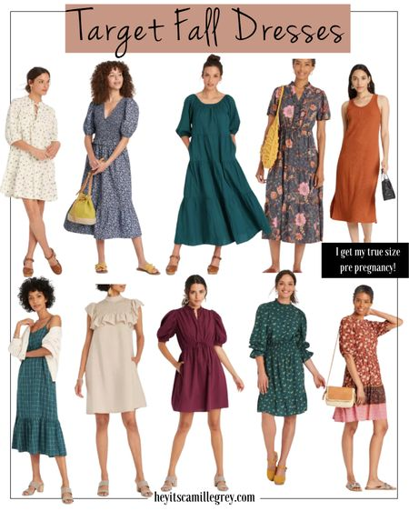 Target fall dresses - I get my true size pre-pregnancy, now being pregnant I will size up one or two to fit the bump! Florals, creams, burnt orange, jewel toned colors   #LTKstyletip #LTKunder100 #LTKunder50