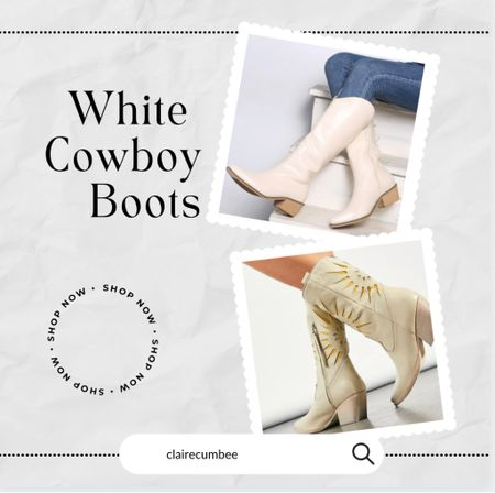 White cowboy boots Western boots Free people dupe Splurge   #LTKshoecrush #LTKworkwear #LTKbacktoschool