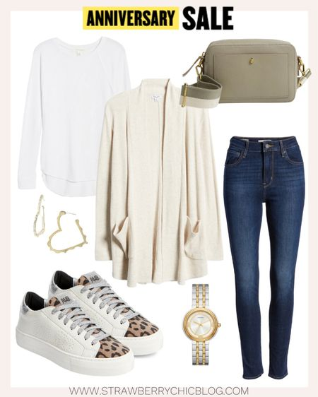 Each of these pieces are great basics to have in your closet to mix and match to create different looks - long sleeve cardigan, sneakers, basic white tee and a casual crossbody.   #LTKshoecrush #LTKSeasonal #LTKsalealert
