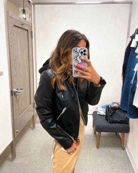 Faux leather moto jacket with hood on sale I have Xs NSALE   #LTKsalealert #LTKunder50 #LTKunder100