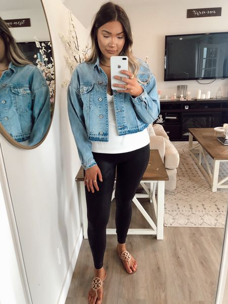 Spanx faux leather leggings  Crop Denim jacket    #LTKstyletip #LTKsalealert #LTKworkwear