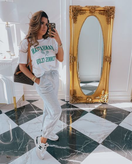 http://liketk.it/3hlnd #liketkit @liketoknow.it #LTKDay Emily Ann Gemma, comfy, casual, sweats, graphic t, sneakers, Chanel, Louis Vuitton, sweats, Nordstrom, Abercrombie, Abercrombie: 20% off with code LTKAF2021, styled collection, Cartier dupes, Cartier dupe bracelet, styled collection: 30% off with code LTK30