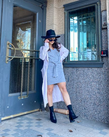 Fashion enthusiast or detective?🧐  Gray sweater dress, black booties, cream trench coat, black Fedora hat, spring outfit, spring look.    http://liketk.it/3faVn #liketkit #LTKfit #LTKunder100 #LTKsalealert @liketoknow.it