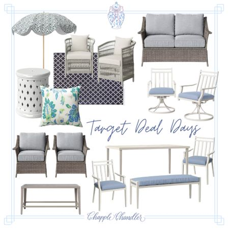Target deal days summer sale outdoor patio furniture home decor patio set outdoor dining front porch decor entryway deck chat set conversation set wicker rattan outdoor umbrella beach umbrella garden stool side table coffee table chairs swivel chair throw pillow outdoor rug white and blue chinoiserie grandmillennial preppy feminine classic traditional home   #LTKsalealert #LTKhome #LTKSeasonal
