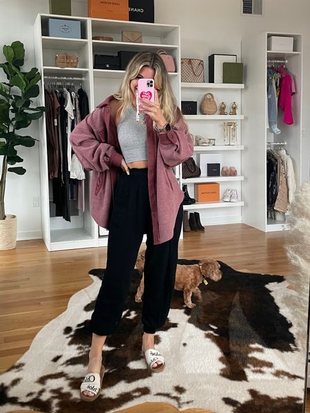 Causal outfit ideas fall outfit idea free people jacket alo tank top crop top sports bra jogger pants Chloe sandals   #LTKunder50 #LTKstyletip #LTKSeasonal