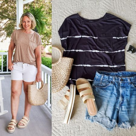 Casual everyday summer mom travel weekend outfit featuring a slouchy dolman tee, cutoff shorts, and straw bag and sandals #casual #summer #shorts #slouchy #cutoff #amazon #target #affordable #budget #simple #tee #strawbag #strawslides #sandals http://liketk.it/3gAD8 @liketoknow.it #liketkit