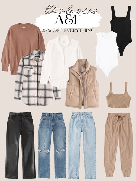 Abercrombie sale picks - fall outfit ideas and fall fashion, plaid shacket, leather vest   #LTKstyletip #LTKSale #LTKunder100