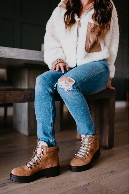 Fleece jacket with faux leather details. Brown hiking boots. Jeans #nsale Nordstrom anniversary sale fall outfit @liketoknow.it #liketkit http://liketk.it/3jUCf #LTKshoecrush #LTKsalealert #LTKunder100