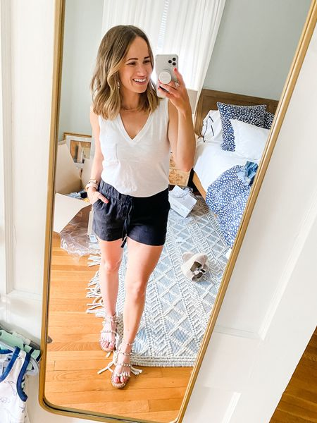 These linen shorts are the perfect pair for summer. They're super lightweight and comfortable, but an appropriate length for every day. I'm pairing them with one of my favorite Madewell whisper tanks, and my trusty Sam Edelman sandals ♥️🥰  #LTKSeasonal #LTKstyletip #LTKshoecrush