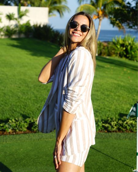 The perfect linen suit that is truly vacation vibes! Each piece under $30, I'm wearing a size 2 blazer and small shorts (i think an XS would have fit better but been a tad shorter)!    #liketkit @liketoknow.it http://liketk.it/2BQ86  #ltkunder50 #ltkstyletips #ltkunder100 #ltkgetaway #ltktravel #ltkgetaway