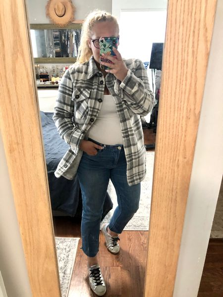 Today's ootd for preschool drop off. Wearing a few of my NSALE purchases. My plaid shacket is sold out in this option but is still available in solid camel or blue. My tummy control jeans are selling out quickly with very limited sizes left.   #LTKunder50 #LTKstyletip #LTKsalealert