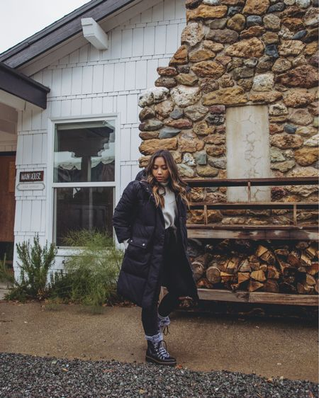 """My favorite jacket rn: long puffer jacket -aka- """"a sleeping bag with sleeves on it."""" Obviously it's really difficult to find a jacket that doesn't swallow me up because of my height. But there's a few that I found that works with my 5'0 frame. And I've linked them all on my @liketoknow.it  //  http://liketk.it/3781F #liketkit"""