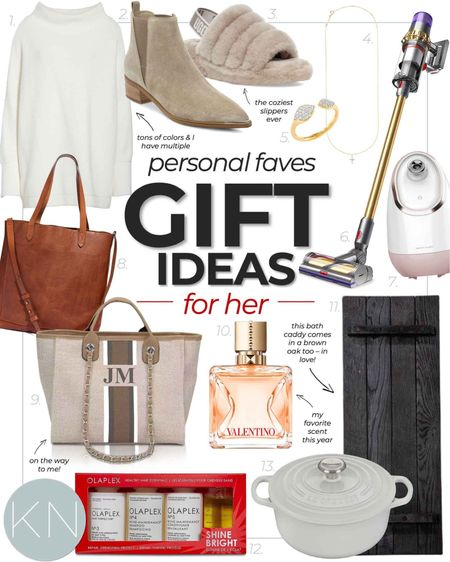 Gift guide for her — including my personal faves! Mom gift wife gift girl gift daughter gift friend gift sister gift tunic crossbody leather tote weekend bag hair essentials cologne jewelry gift leather purse best slippers facial steamer travel mirror dress boot best robe Dutch oven bath board   #LTKSeasonal #LTKHoliday #LTKGiftGuide