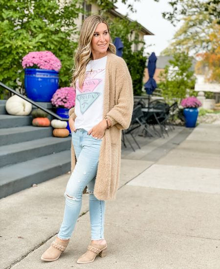 Graphic tee from Sassy Queen boutique size small. Teddy bear duster cardigan from Pink Lily size xs.   #LTKSeasonal #LTKshoecrush #LTKstyletip