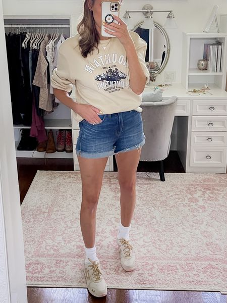 Early fall outfit with jean shorts and a Shein graphic sweatshirt   #LTKunder50 #LTKstyletip #LTKunder100