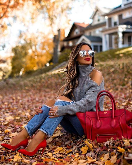 Fall casual outfit ideas  Fall date night outfit  Revolve lovers + friends chunky knit sweater  GRLFRND denim  Red Celine Mini Red suede Christian Louboutin pumps MAC Russian Red lipstick    #LTKunder100 #LTKitbag #LTKshoecrush