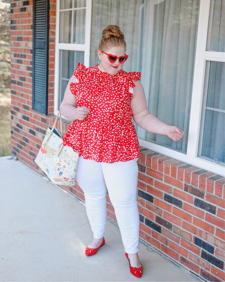 ❤️🤍Casual plus size outfit details:  Red heart sunglasses - Amazon Pearl hoops - Mignonne Gavigan Top - Perfectly Priscilla Boutique White jeans - American Eagle Great Lakes Tote - Spartina 449 Red flats - ASOS  Exact sunglasses, earrings, and jeans linked.    http://liketk.it/3gwuJ #liketkit @liketoknow.it #LTKcurves #LTKshoecrush #LTKitbag