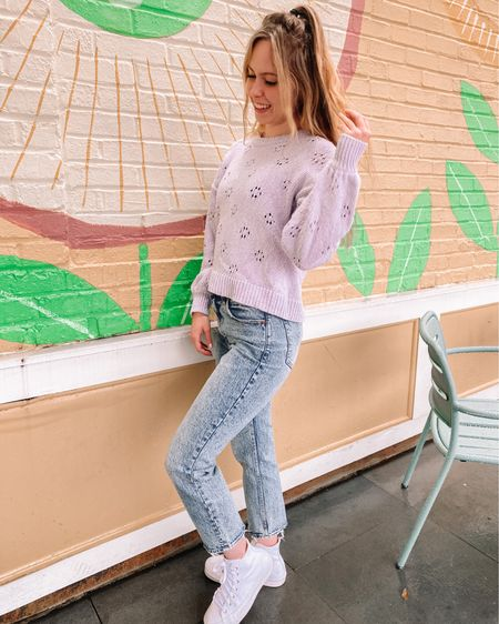 I am so ready to make the full transition to my spring wardrobe, but for now pastel sweaters will do 💜 Has this winter felt extra long to anyone else? March is still pretty cold and dreary where I am, so I decided to share a wellness tip on my stories every day this month with things that I try to do to help me feel my best! If you have something that really helps you, comment below 💕 This madewell sweater is no longer in stock, but I linked some similar :) http://liketk.it/39NEV #liketkit @liketoknow.it