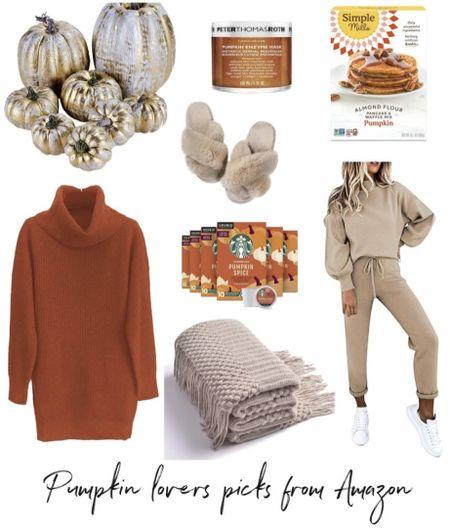 Fall outfit, fall decor, Amazon picks, Amazon fashion, pumpkins, pumpkin, coffee, sweats, throw #LTKhome #LTKSeasonal #LTKHoliday #LTKunder100   http://liketk.it/3o4t4 @liketoknow.it #liketkit