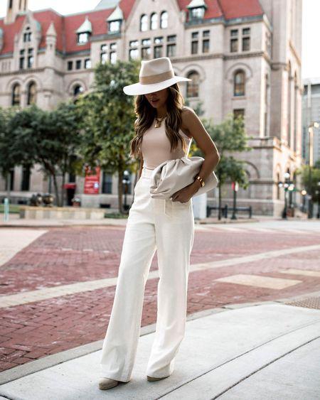 Summer outfit ideas  Amazon nude bodysuit  Revolve linen pants Janessa Leone Hat  Castañer espadrille wedges  #amazonfashion  #LTKstyletip #LTKworkwear #LTKunder100