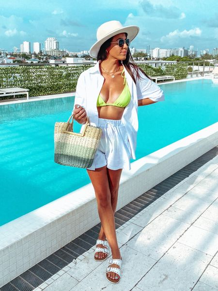 Swim Coverup  Linen Coverup Straw Bags Beach Styles Birkenstock Dupes Isabel Marant dupes Lennyo Slides  #LTKunder50 #LTKunder100 #LTKtravel