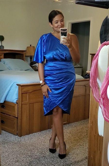 fall wedding guest dress option / blue one shoulder dress / wedding guest dress / formal event wear / occasion dress  #LTKSeasonal #LTKcurves #LTKunder50