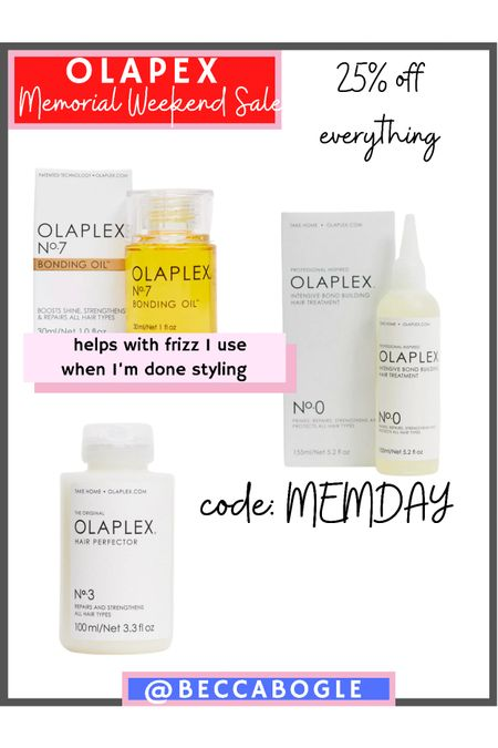 Olapex hair products Memorial Day weekend sale! Use code: MEMDAY for 25% off everything! #hair #competition #asos  #LTKSeasonal #LTKsalealert #LTKbeauty